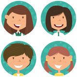 School girls avatar collection. Royalty Free Stock Images