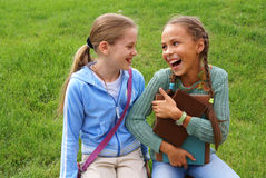 School girls with books royalty free stock photography