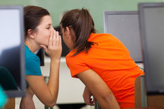 School girls gossiping Stock Images