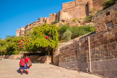 School girls at Mehrangarh Fort Royalty Free Stock Photography