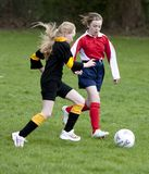 School girls playing soccer/football Stock Images
