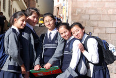School girls posing for portrait. CUSCO PERU-NOV. 25:  Unidentified School girls posing for portrait on Nov. 25 2010 in Cusco Peru. One-third of girls in rural Stock Image