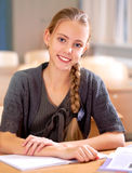 School girls sitting at their desk Stock Photography