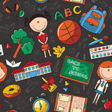 School girls with tools and education objects seamless pattern. Stock Images