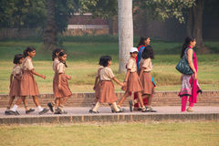 School girls visiting Humayun's Tomb complex in Delhi, India Stock Image