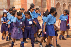 School girls visiting Humayun's Tomb complex in Delhi, India Royalty Free Stock Photos