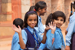 School girls visiting Humayun's Tomb complex in Delhi, India Royalty Free Stock Photo