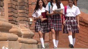 School Girls Wearing Skirts Stock Photography