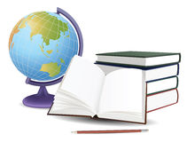 School globe, books and pencil vector Royalty Free Stock Photos