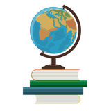 School globe and books on a white background Stock Image