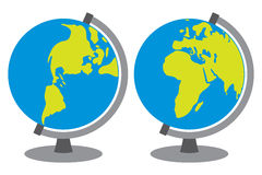 School globe. Globes showing earth with all continents, world globe, globe icon, terrestrial globe Stock Photography