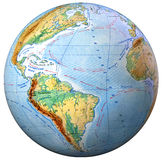 School Globe physical map  isolated Royalty Free Stock Images