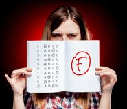 School grade of exam and disappointed girl Stock Image
