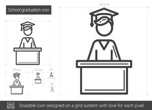 School graduation line icon. Royalty Free Stock Images