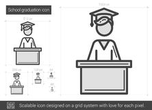 School graduation line icon. Royalty Free Stock Photography