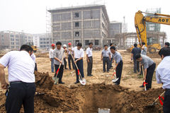 School groundbreaking ceremony. New school foundation, which is the responsible person conducting the ceremony. Baixiang County, Hebei Province, China, June 4 Stock Photo