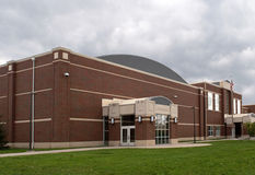 School Gymnasium. Exterior of old, red brick, school gymnasium building royalty free stock photos