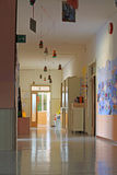 School hallway with the drawings royalty free stock image