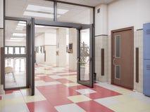 School hallway interior. 3d illustration stock photos