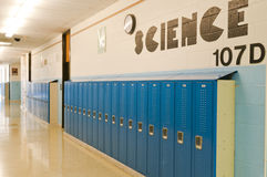 School hallway lockers. A row of student school lockers in the hallway of the science section at a middle school or high school Royalty Free Stock Photography