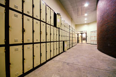 School Hallway with Student Lockers Stock Photos