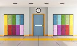 School hallway with student lockers Stock Photo