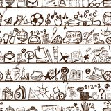 School hand drawn pattern for your design Stock Images