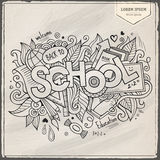 School hand lettering and doodles elements Royalty Free Stock Image