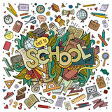 School hand lettering and doodles elements Stock Photos