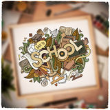 School hand lettering and doodles elements and Royalty Free Stock Photo