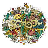 School hand lettering and doodles elements Royalty Free Stock Photo