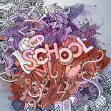 School hand lettering and doodles elements and Royalty Free Stock Photography
