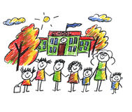 School and happy children royalty free illustration