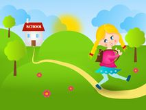From school. Happy illustration of young girl walking from school Royalty Free Stock Photo