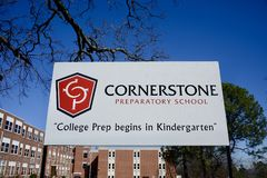 Cornerstone Preparatory School. This school has been designated as a Cornerstone Preparatory School moto is College Prep begins in Kindergarten Stock Photography
