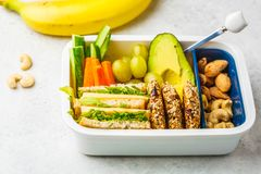 School healthy lunch box with sandwich, cookies, fruits and avocado on white background. School healthy lunch box with sandwich, cookies, nuts, fruits and stock photography