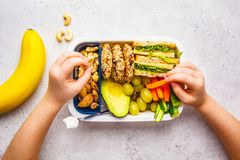 School healthy lunch box with sandwich, cookies, fruits and avocado on white background. School healthy lunch box with sandwich, cookies, nuts, fruits and stock image