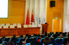 The school held a lecture on psychological health education for parents of students. Sunday, the school held a psychological health education lecture. In royalty free stock photography
