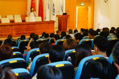 The school held a lecture on psychological health education for parents of students. Sunday, the school held a psychological health education lecture. In stock photography
