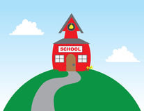 School on Hill Stock Image