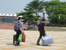 School holidays. Shajing middle school in Baoan, Shenzhen, china stock photo