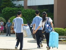 School holidays. Shajing middle school in Baoan, Shenzhen, china stock image