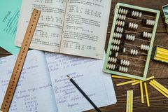 School homework in the Soviet period Stock Photo