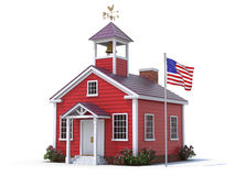 School house. And american flag over white background Royalty Free Stock Photos