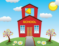 School house and apple trees Stock Photos