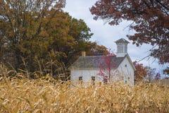 School house, autumn corn field Royalty Free Stock Photos