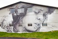 House painted with abstract portrait Heimaey, Westman Isles, Iceland Royalty Free Stock Photos