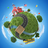 School house and school bus in back to school concept illustration Royalty Free Stock Photos