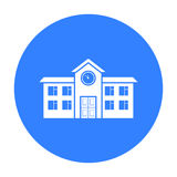 School icon black. Single building icon from the big city infrastructure black. Royalty Free Stock Photography