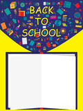 School Icon 1 Book Space. Illustration back to school book space icon yellow background Royalty Free Stock Photos